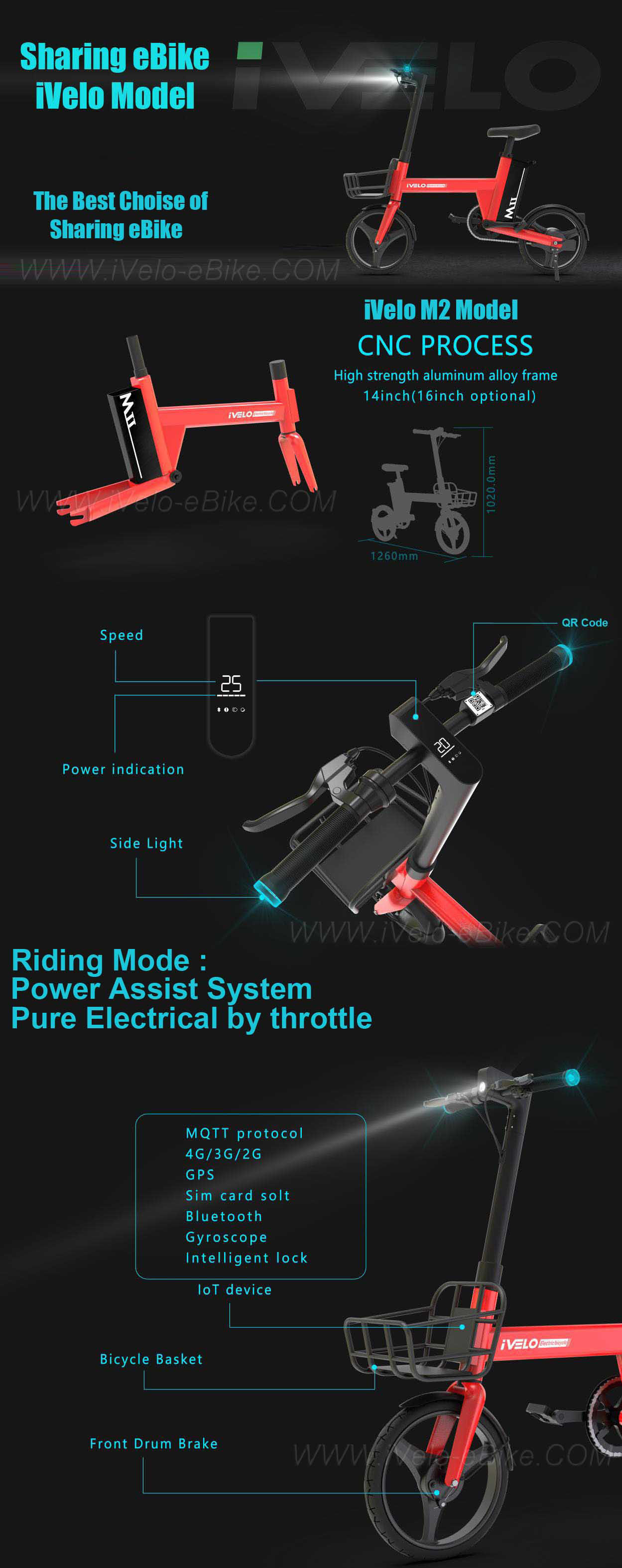 fitrider M2 ivelo sharing electric bicycle