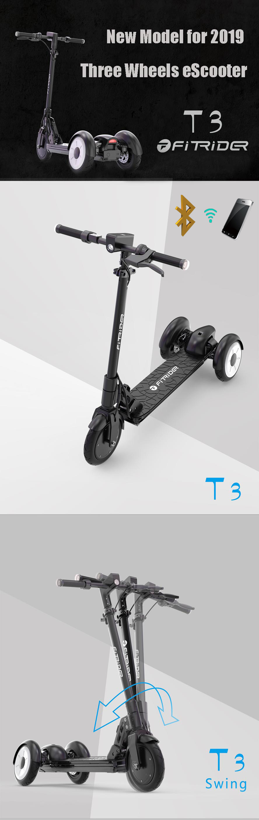 FitRider T3 electric scooter three wheels